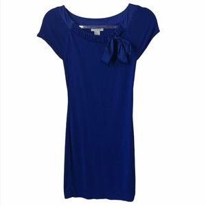 H&M Royal Blue Fine Knit Silk Bow Dress XS